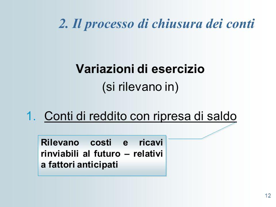12 2. Il processo di chiusura dei conti Variazioni di esercizio (si rilevano in) 1.Conti di reddito con ripresa di saldo Rilevano costi e ricavi rinvi