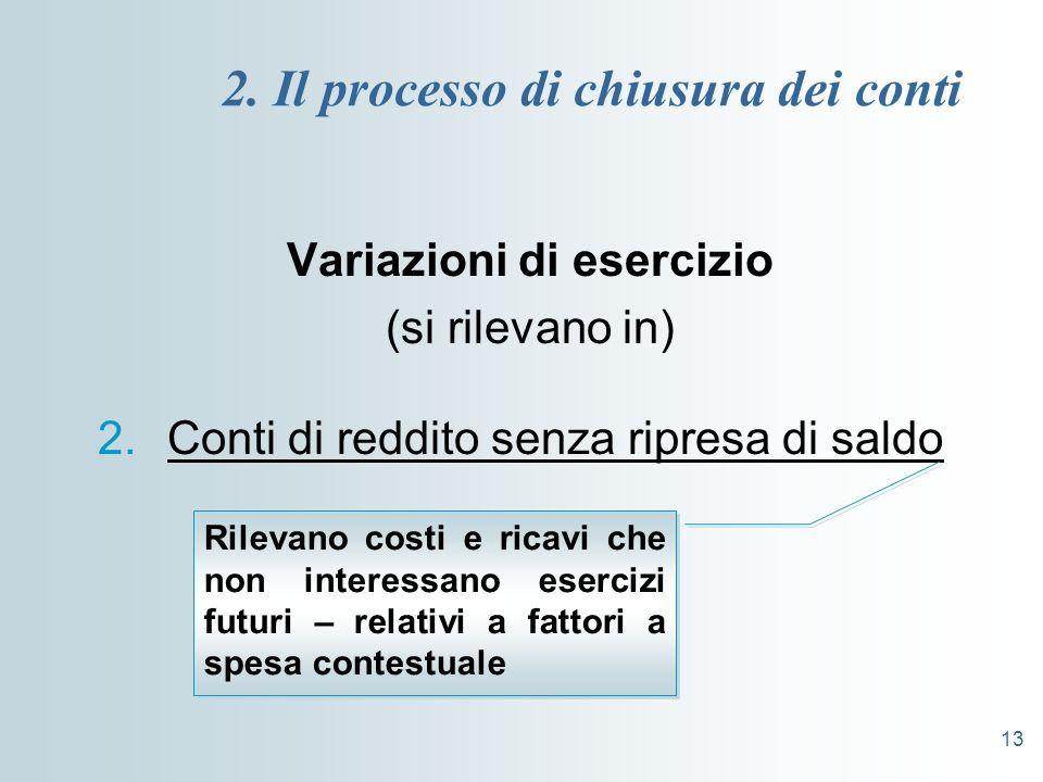 13 2. Il processo di chiusura dei conti Variazioni di esercizio (si rilevano in) 2.Conti di reddito senza ripresa di saldo Rilevano costi e ricavi che