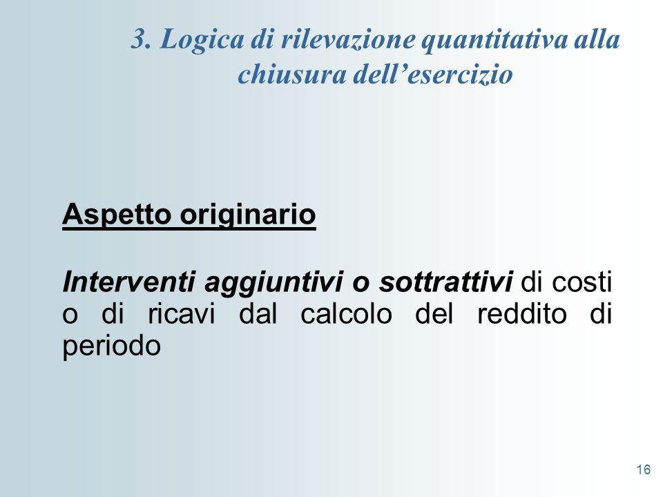 16 3. Logica di rilevazione quantitativa alla chiusura dellesercizio Aspetto originario Interventi aggiuntivi o sottrattivi di costi o di ricavi dal c