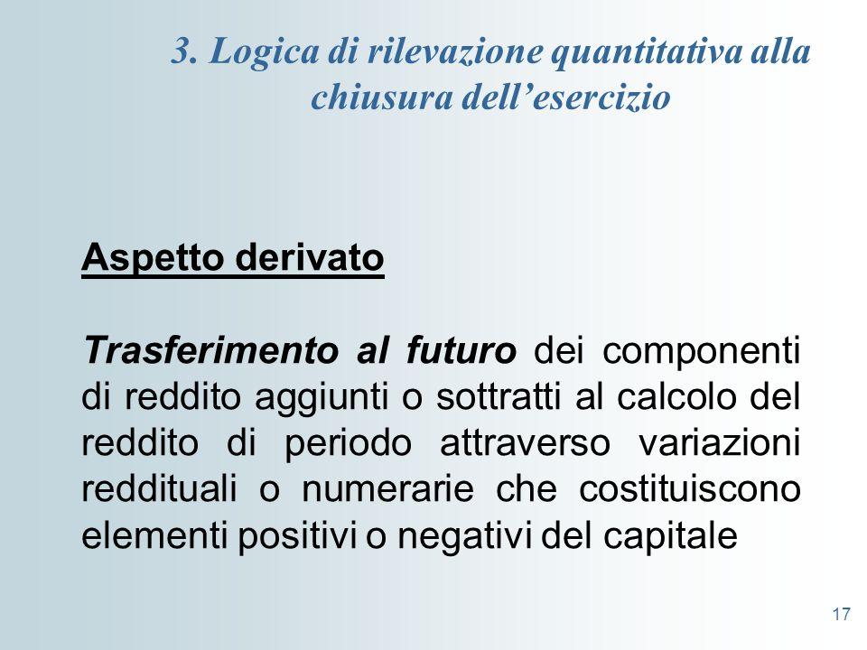 17 3. Logica di rilevazione quantitativa alla chiusura dellesercizio Aspetto derivato Trasferimento al futuro dei componenti di reddito aggiunti o sot