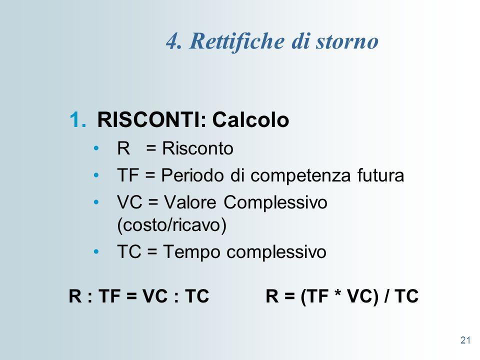 21 4. Rettifiche di storno 1.RISCONTI: Calcolo R = Risconto TF = Periodo di competenza futura VC = Valore Complessivo (costo/ricavo) TC = Tempo comple