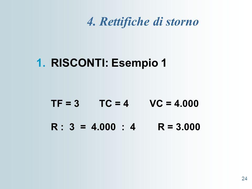 24 4. Rettifiche di storno 1.RISCONTI: Esempio 1 TF = 3 TC = 4 VC = 4.000 R : 3 = 4.000 : 4 R = 3.000