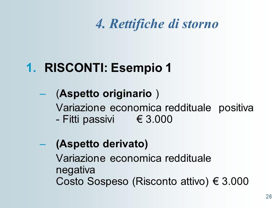 26 4. Rettifiche di storno 1.RISCONTI: Esempio 1 –(Aspetto originario ) Variazione economica reddituale positiva - Fitti passivi 3.000 –(Aspetto deriv