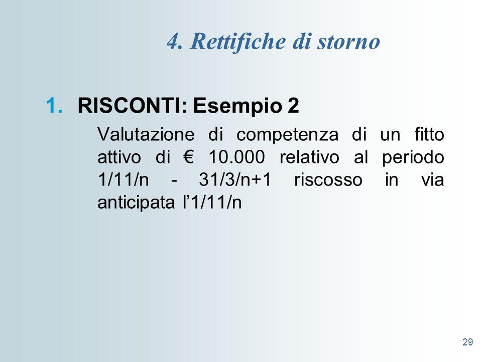 29 4. Rettifiche di storno 1.RISCONTI: Esempio 2 Valutazione di competenza di un fitto attivo di 10.000 relativo al periodo 1/11/n - 31/3/n+1 riscosso