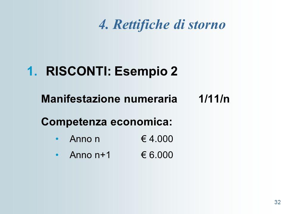 32 4. Rettifiche di storno 1.RISCONTI: Esempio 2 Manifestazione numeraria 1/11/n Competenza economica: Anno n 4.000 Anno n+1 6.000