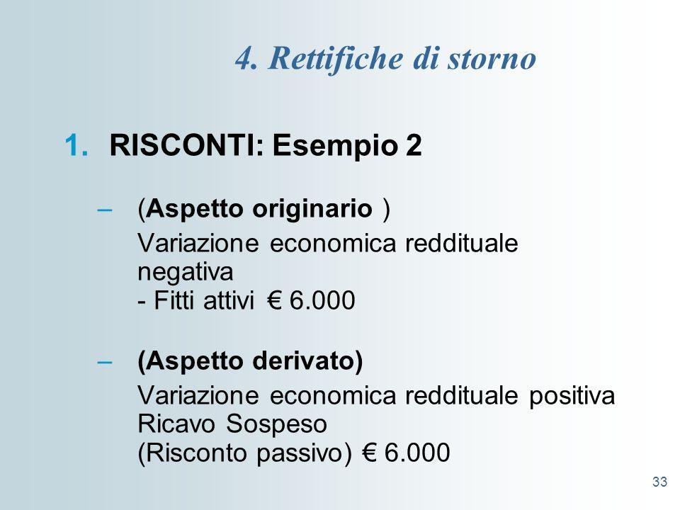 33 4. Rettifiche di storno 1.RISCONTI: Esempio 2 –(Aspetto originario ) Variazione economica reddituale negativa - Fitti attivi 6.000 –(Aspetto deriva