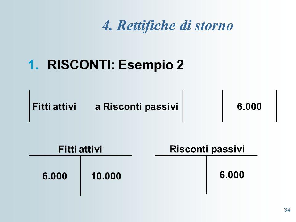 34 4. Rettifiche di storno 1.RISCONTI: Esempio 2 Fitti attivi a Risconti passivi6.000 10.000 Fitti attivi 6.000 Risconti passivi