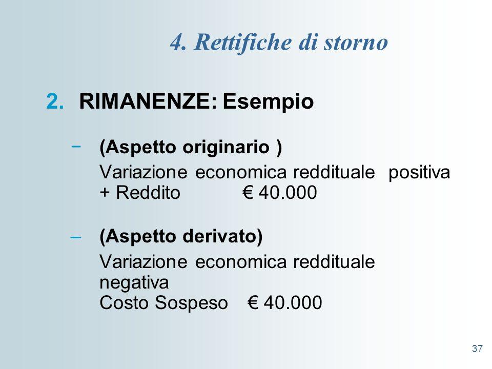 37 4. Rettifiche di storno 2.RIMANENZE: Esempio (Aspetto originario ) Variazione economica reddituale positiva + Reddito 40.000 –(Aspetto derivato) Va