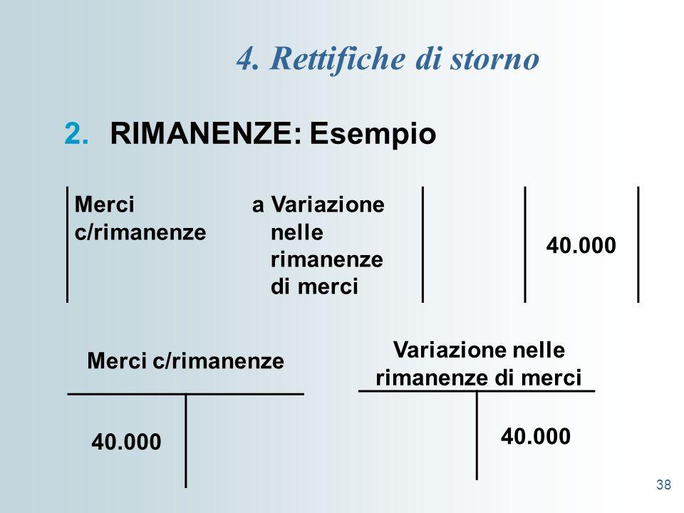 38 4. Rettifiche di storno 2.RIMANENZE: Esempio Merci c/rimanenze a Variazione nelle rimanenze di merci 40.000 Merci c/rimanenze 40.000 Variazione nel