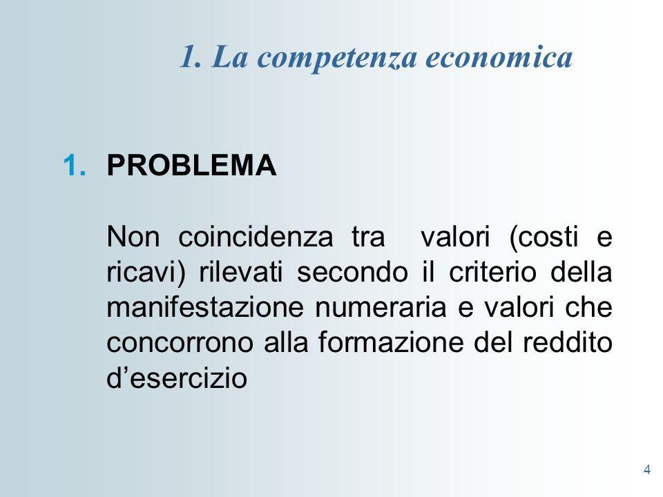 4 1. La competenza economica 1.PROBLEMA Non coincidenza tra valori (costi e ricavi) rilevati secondo il criterio della manifestazione numeraria e valo