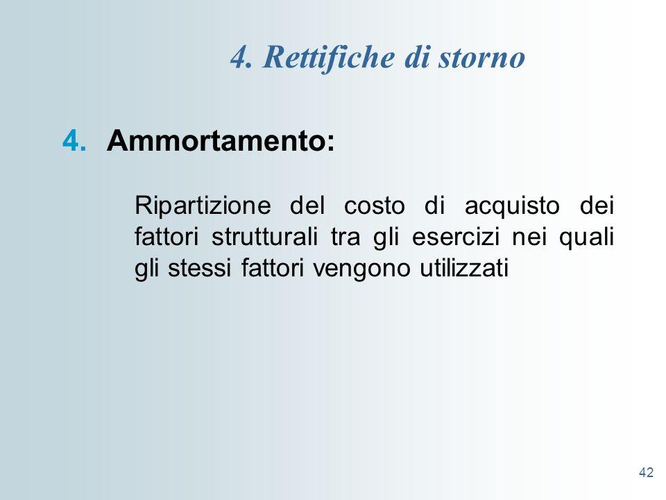 42 4. Rettifiche di storno 4.Ammortamento: Ripartizione del costo di acquisto dei fattori strutturali tra gli esercizi nei quali gli stessi fattori ve