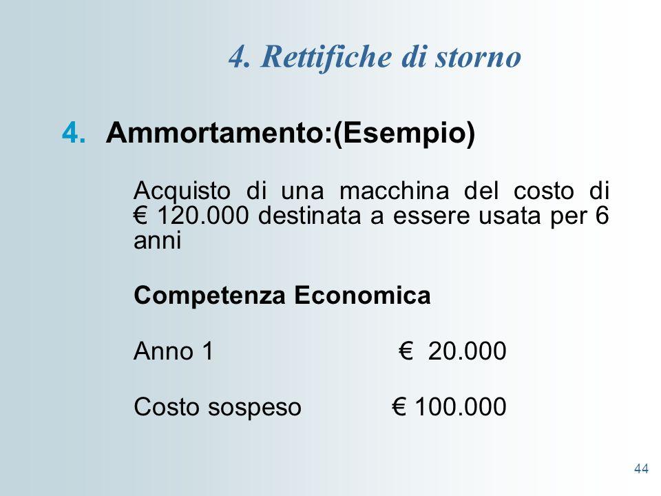 44 4. Rettifiche di storno 4.Ammortamento:(Esempio) Acquisto di una macchina del costo di 120.000 destinata a essere usata per 6 anni Competenza Econo