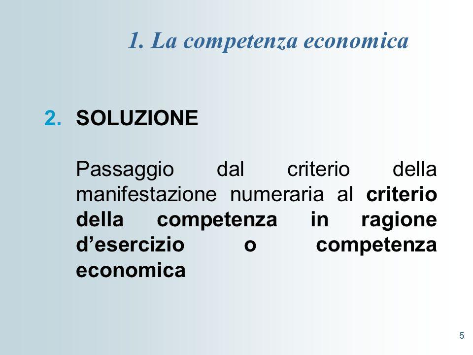 5 1. La competenza economica 2.SOLUZIONE Passaggio dal criterio della manifestazione numeraria al criterio della competenza in ragione desercizio o co