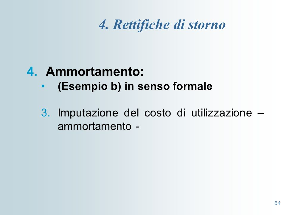 54 4. Rettifiche di storno 4.Ammortamento: (Esempio b) in senso formale 3.Imputazione del costo di utilizzazione – ammortamento -