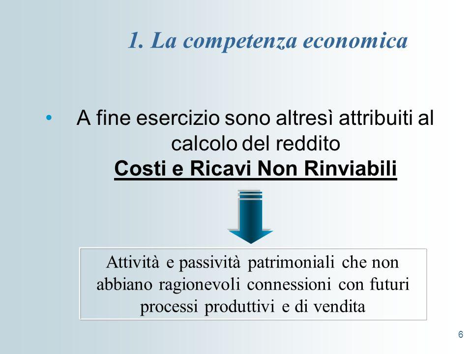 6 1. La competenza economica A fine esercizio sono altresì attribuiti al calcolo del reddito Costi e Ricavi Non Rinviabili Attività e passività patrim
