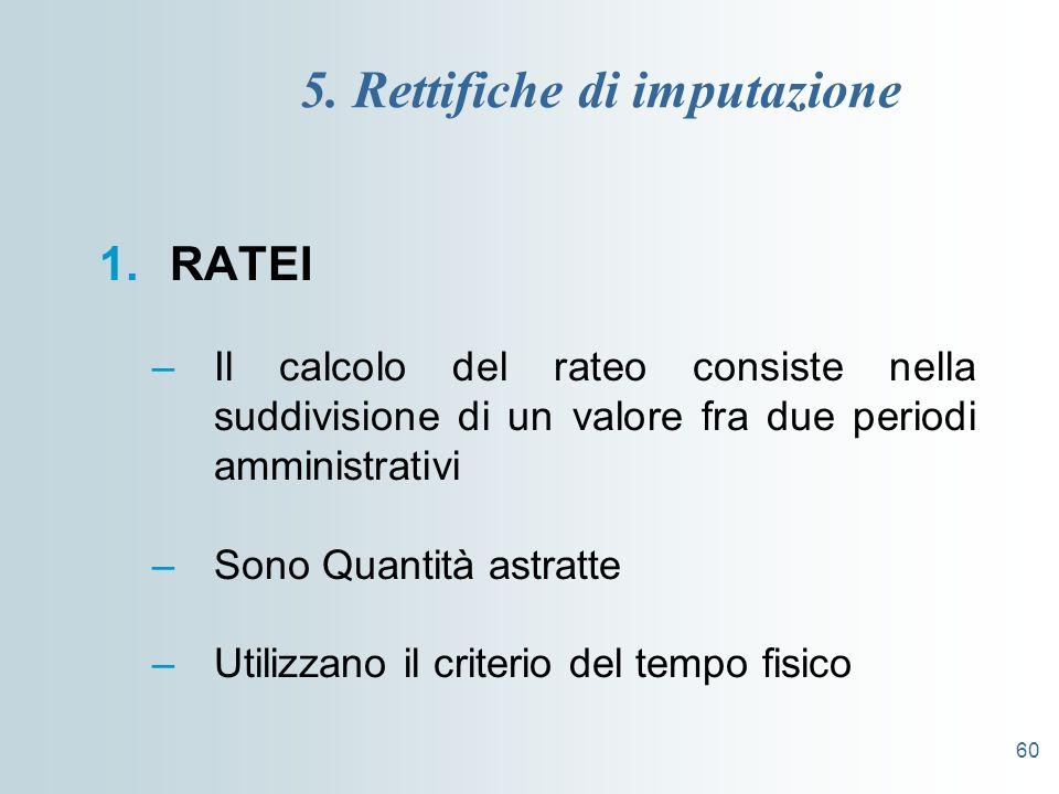 60 5. Rettifiche di imputazione 1.RATEI –Il calcolo del rateo consiste nella suddivisione di un valore fra due periodi amministrativi –Sono Quantità a