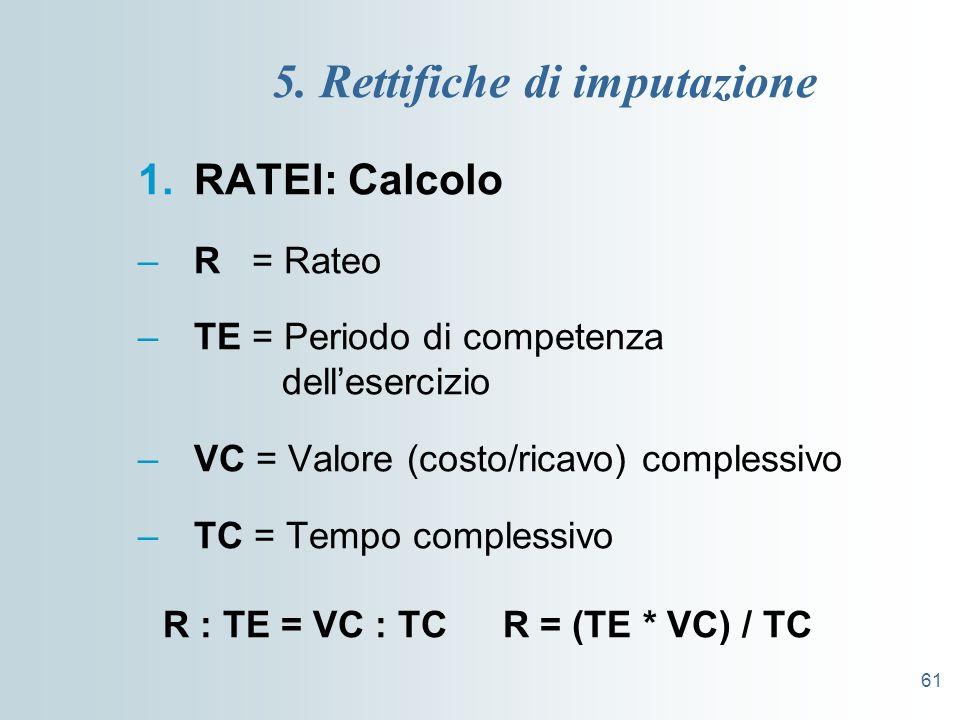 61 5. Rettifiche di imputazione 1.RATEI: Calcolo –R = Rateo –TE = Periodo di competenza dellesercizio –VC = Valore (costo/ricavo) complessivo –TC = Te