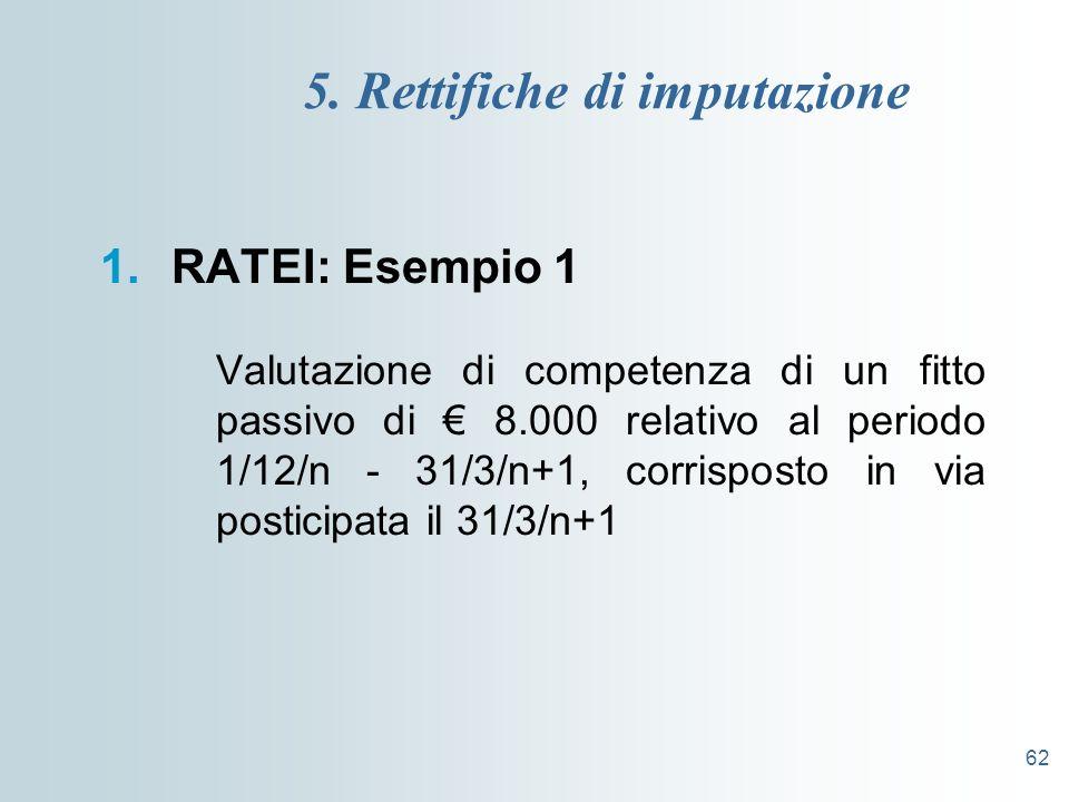 62 5. Rettifiche di imputazione 1.RATEI: Esempio 1 Valutazione di competenza di un fitto passivo di 8.000 relativo al periodo 1/12/n - 31/3/n+1, corri