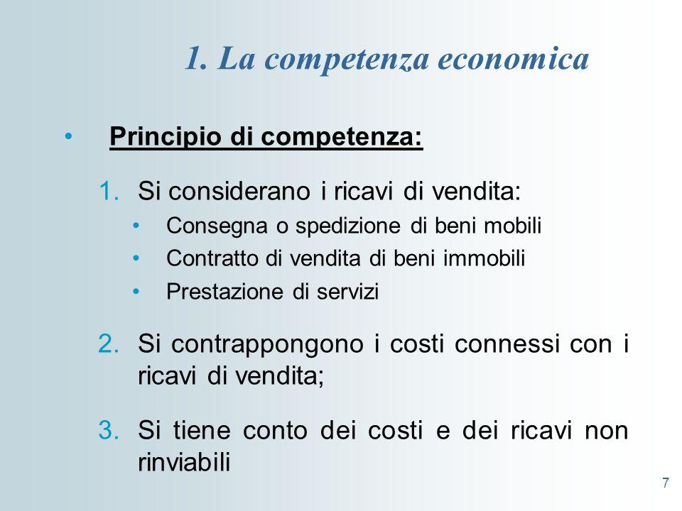 7 1. La competenza economica Principio di competenza: 1.Si considerano i ricavi di vendita: Consegna o spedizione di beni mobili Contratto di vendita