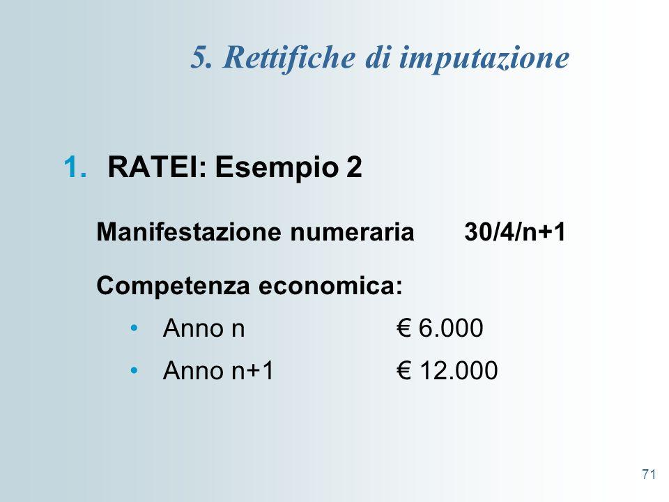 71 5. Rettifiche di imputazione 1.RATEI: Esempio 2 Manifestazione numeraria 30/4/n+1 Competenza economica: Anno n 6.000 Anno n+1 12.000