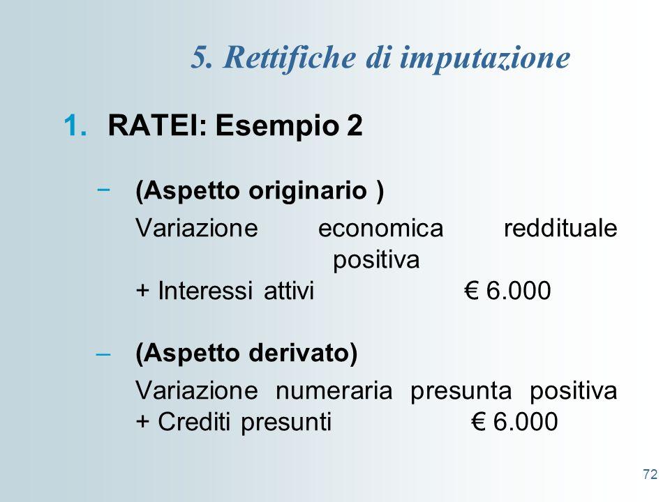 72 5. Rettifiche di imputazione 1.RATEI: Esempio 2 (Aspetto originario ) Variazione economica reddituale positiva + Interessi attivi 6.000 –(Aspetto d