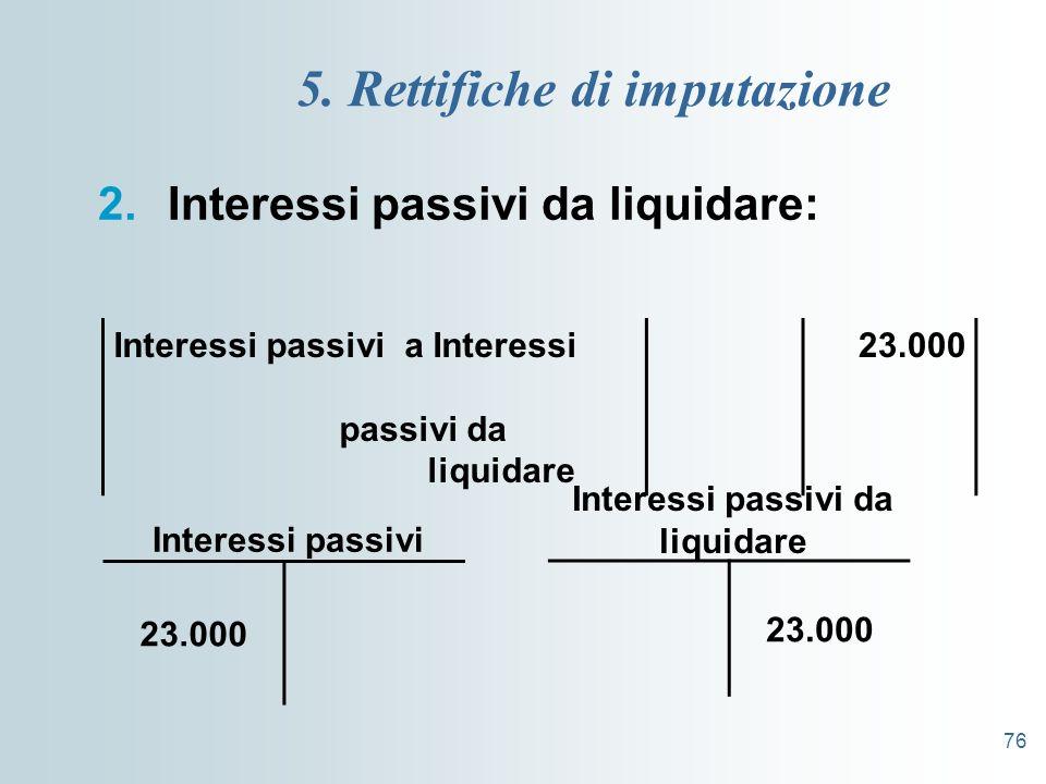 76 5. Rettifiche di imputazione 2.Interessi passivi da liquidare: Interessi passivi a Interessi passivi da liquidare 23.000 Interessi passivi da liqui