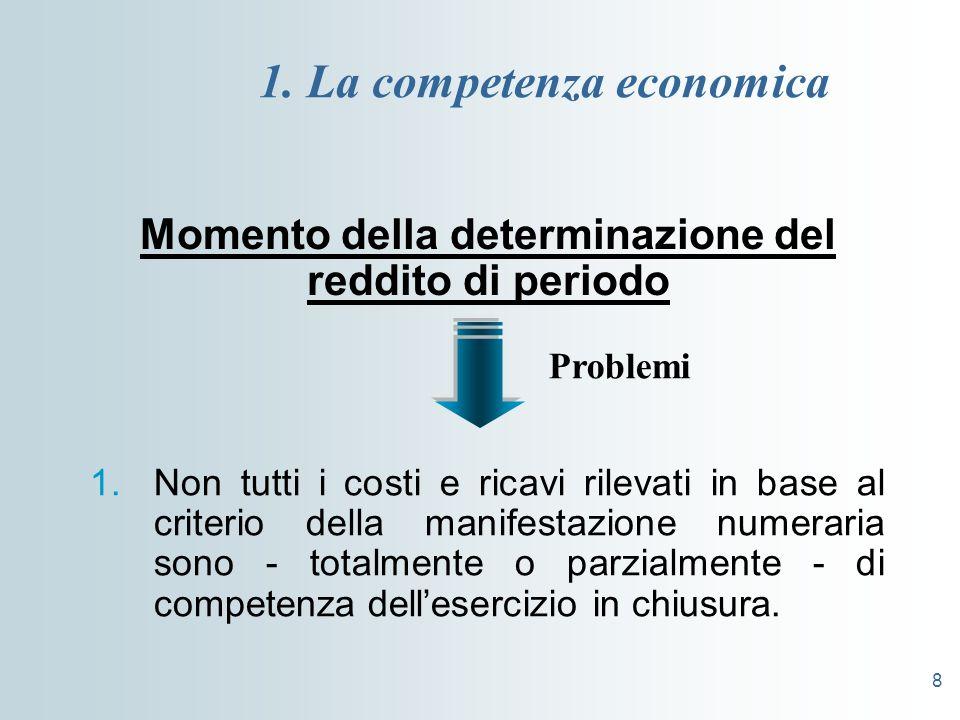 8 1. La competenza economica Momento della determinazione del reddito di periodo 1.Non tutti i costi e ricavi rilevati in base al criterio della manif