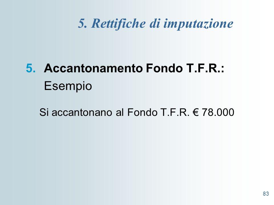 83 5. Rettifiche di imputazione 5.Accantonamento Fondo T.F.R.: Esempio Si accantonano al Fondo T.F.R. 78.000