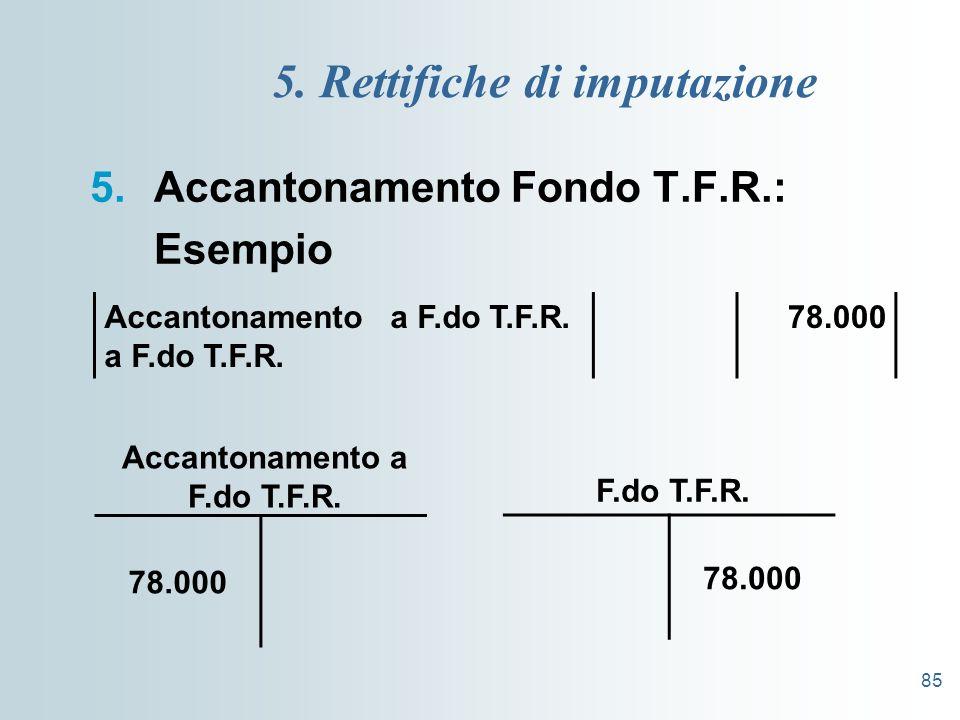 85 5. Rettifiche di imputazione 5.Accantonamento Fondo T.F.R.: Esempio Accantonamento a F.do T.F.R. a F.do T.F.R. 78.000 F.do T.F.R. Accantonamento a