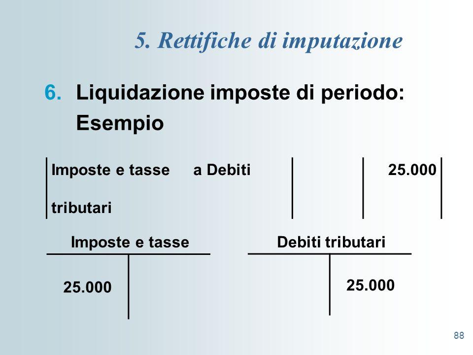 88 5. Rettifiche di imputazione 6.Liquidazione imposte di periodo: Esempio Imposte e tasse a Debiti tributari 25.000 Debiti tributariImposte e tasse