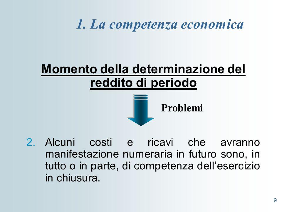 9 1. La competenza economica Momento della determinazione del reddito di periodo 2.Alcuni costi e ricavi che avranno manifestazione numeraria in futur