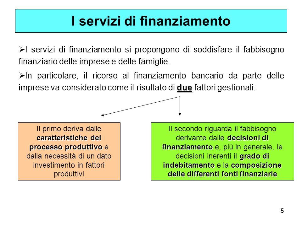 6 La banca soddisfa i bisogni di finanziamento attraverso differenti modalità.