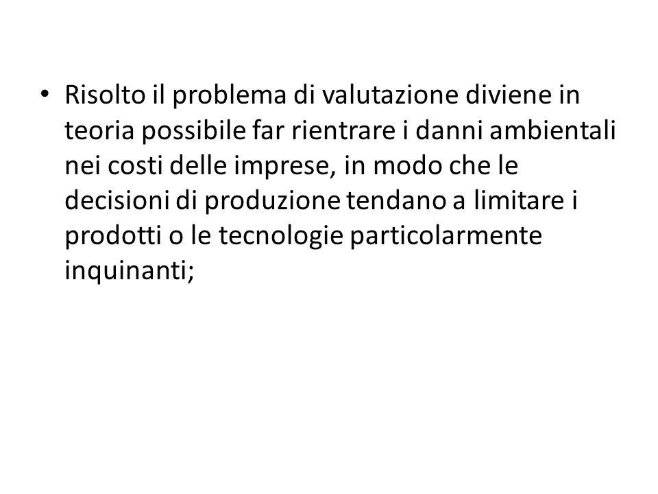 Risolto il problema di valutazione diviene in teoria possibile far rientrare i danni ambientali nei costi delle imprese, in modo che le decisioni di p