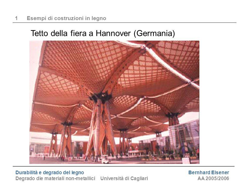 Durabilità e degrado del legno Bernhard Elsener Degrado die materiali non-metallici Università di CagliariAA 2005/2006 1Esempi di costruzioni in legno Ponte moderno (Expo Svizzera 2002)