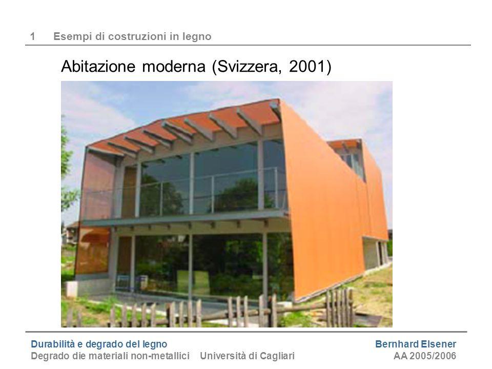 Durabilità e degrado del legno Bernhard Elsener Degrado die materiali non-metallici Università di CagliariAA 2005/2006 2Composizione e struttura del legno Composizione chimica (legno è un materiale composto di macromolecole) - Cellulose40 - 60 % - Emicellulosa6 - 27 % - Lignina18 - 40 % (conifere meno lignina) - Altre sostanze0.3 - 10 % (organiche ed inorganiche) Composizione elementare - carbonio48 - 52 % - Ossigeno41 - 45 % - idrogeno6 - 7 %