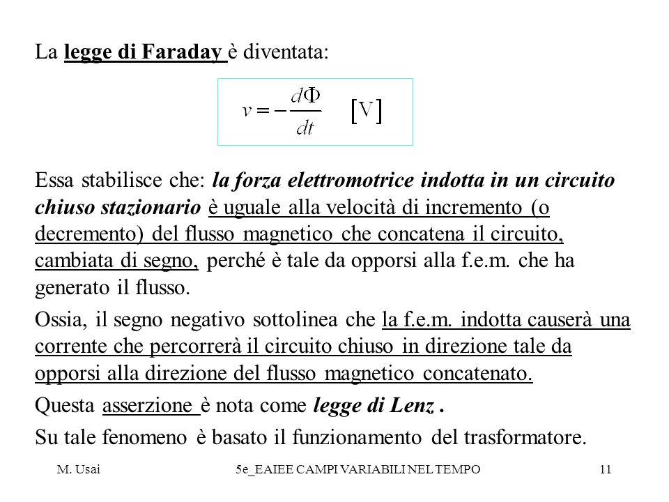 M. Usai5e_EAIEE CAMPI VARIABILI NEL TEMPO11 La legge di Faraday è diventata: Essa stabilisce che: la forza elettromotrice indotta in un circuito chius