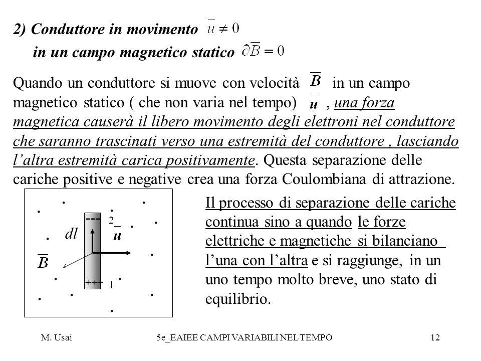 M. Usai5e_EAIEE CAMPI VARIABILI NEL TEMPO12 2) Conduttore in movimento in un campo magnetico statico Quando un conduttore si muove con velocità in un