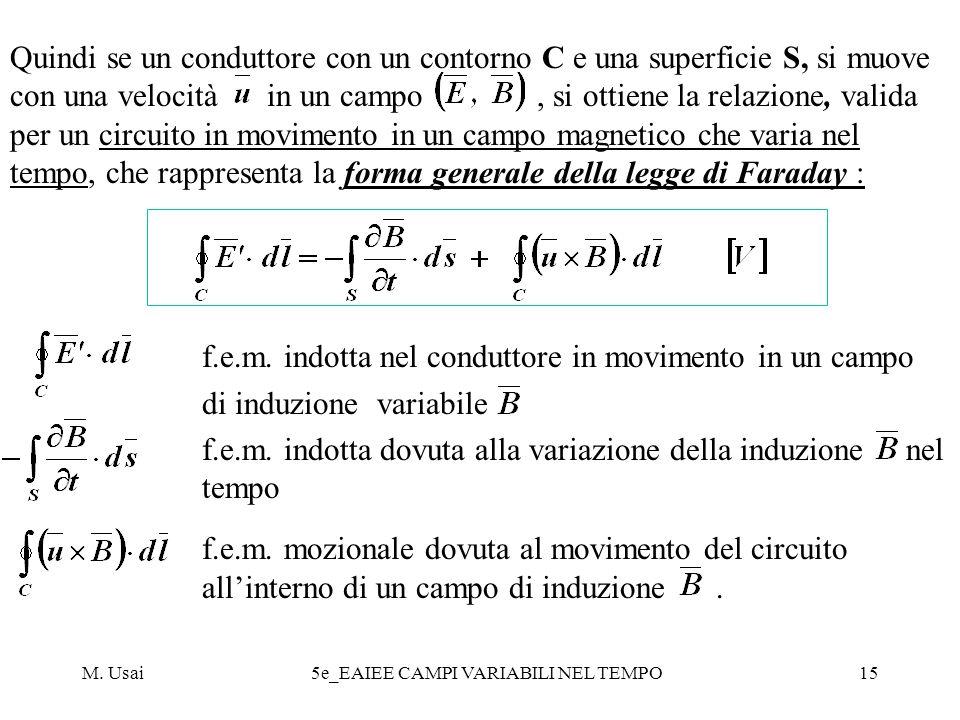 M. Usai5e_EAIEE CAMPI VARIABILI NEL TEMPO15 Quindi se un conduttore con un contorno C e una superficie S, si muove con una velocità in un campo, si ot