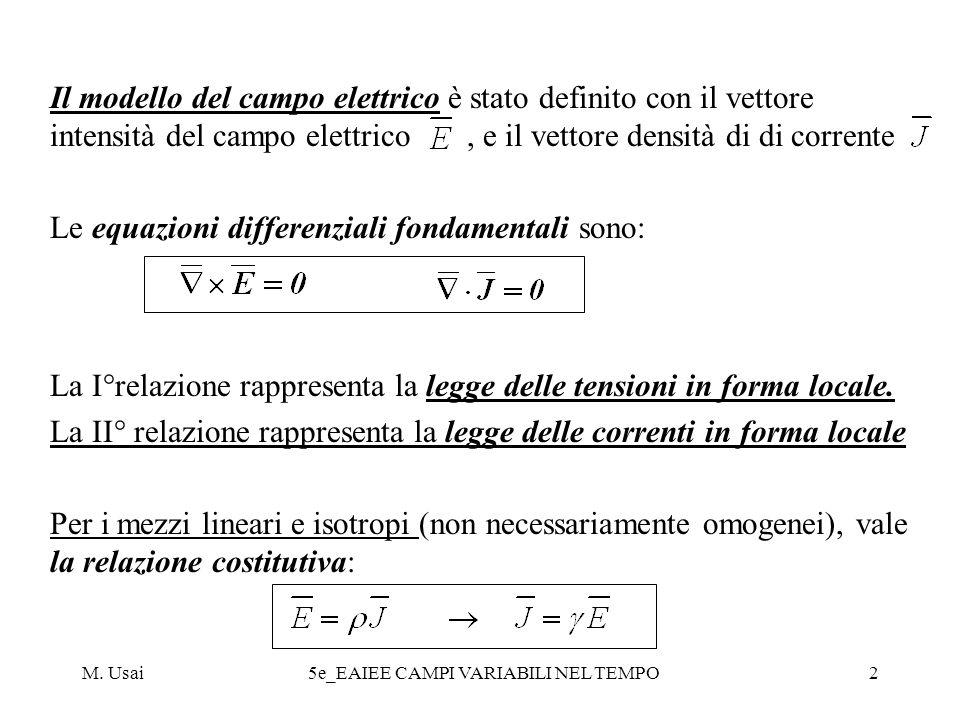 M.Usai5e_EAIEE CAMPI VARIABILI NEL TEMPO33 In modo analogo si ottiene una equazione in.