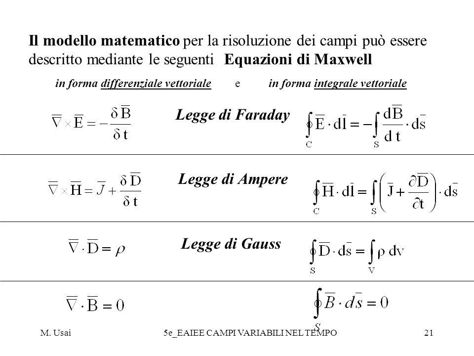 M. Usai5e_EAIEE CAMPI VARIABILI NEL TEMPO21 Il modello matematico per la risoluzione dei campi può essere descritto mediante le seguenti Equazioni di