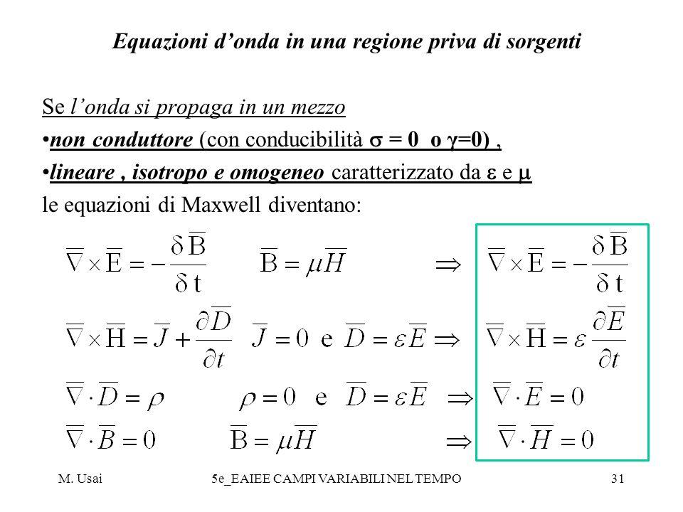M. Usai5e_EAIEE CAMPI VARIABILI NEL TEMPO31 Equazioni donda in una regione priva di sorgenti Se londa si propaga in un mezzo non conduttore (con condu