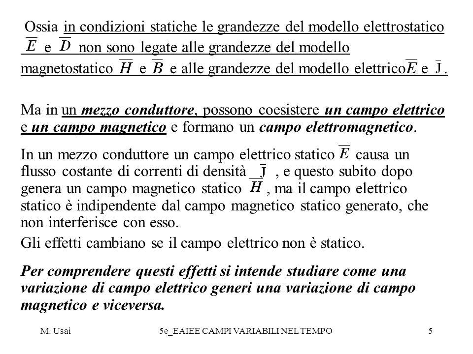 M. Usai5e_EAIEE CAMPI VARIABILI NEL TEMPO5 Ossia in condizioni statiche le grandezze del modello elettrostatico e non sono legate alle grandezze del m