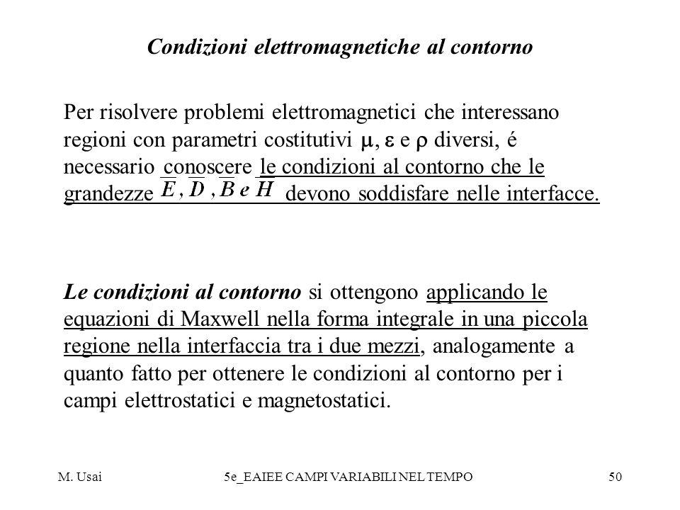 M. Usai5e_EAIEE CAMPI VARIABILI NEL TEMPO50 Condizioni elettromagnetiche al contorno Per risolvere problemi elettromagnetici che interessano regioni c