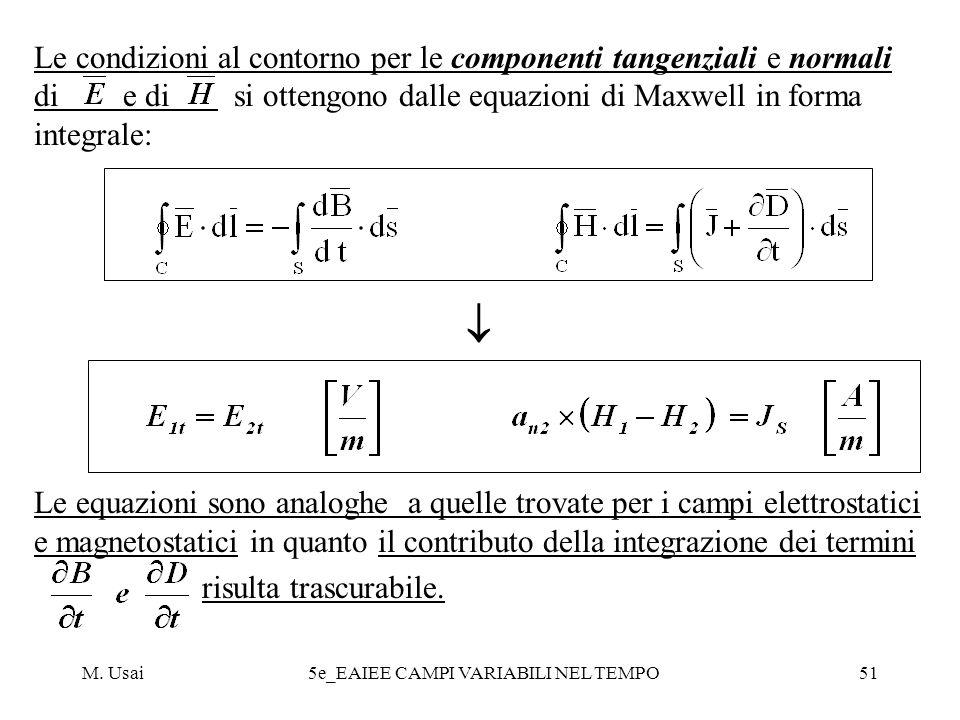 M. Usai5e_EAIEE CAMPI VARIABILI NEL TEMPO51 Le condizioni al contorno per le componenti tangenziali e normali di e di si ottengono dalle equazioni di