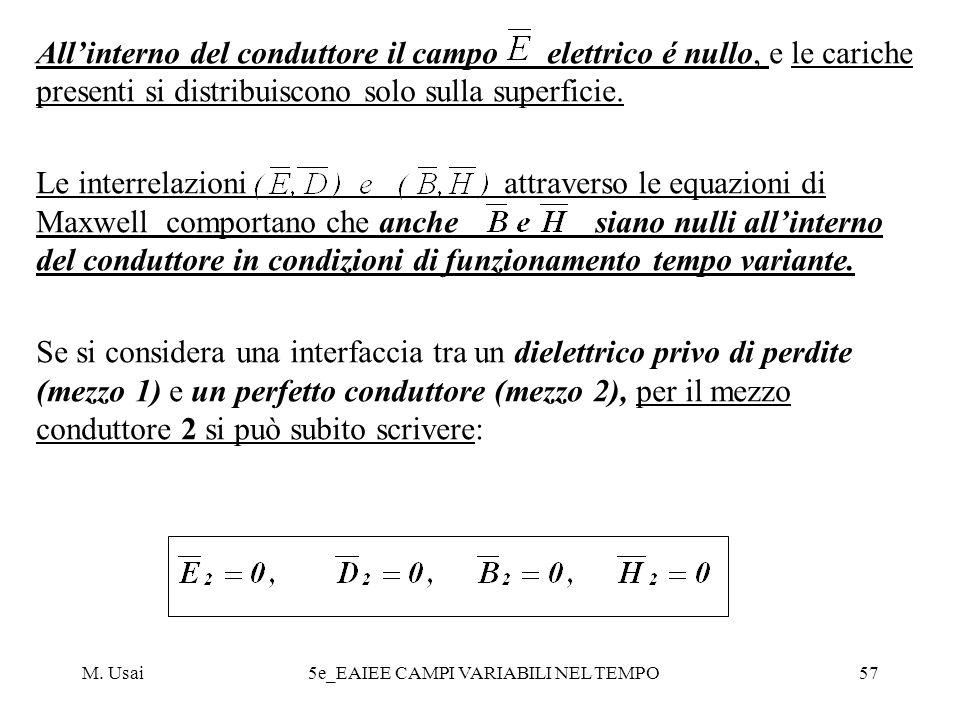 M. Usai5e_EAIEE CAMPI VARIABILI NEL TEMPO57 Allinterno del conduttore il campo elettrico é nullo, e le cariche presenti si distribuiscono solo sulla s