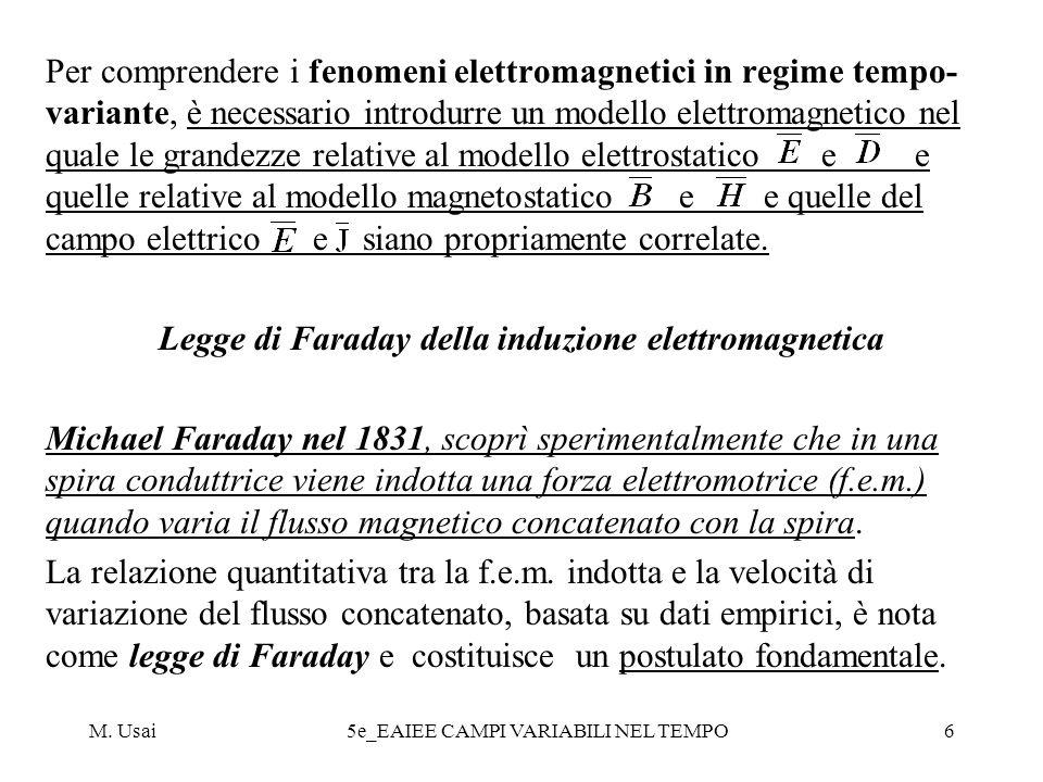 M. Usai5e_EAIEE CAMPI VARIABILI NEL TEMPO6 Per comprendere i fenomeni elettromagnetici in regime tempo- variante, è necessario introdurre un modello e