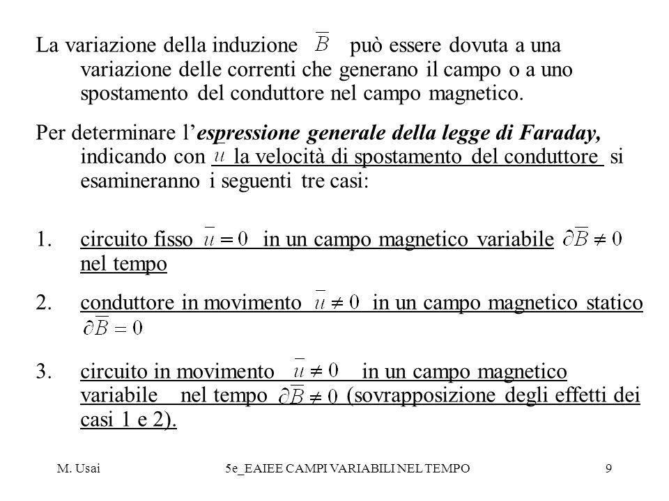 M. Usai5e_EAIEE CAMPI VARIABILI NEL TEMPO9 La variazione della induzione può essere dovuta a una variazione delle correnti che generano il campo o a u