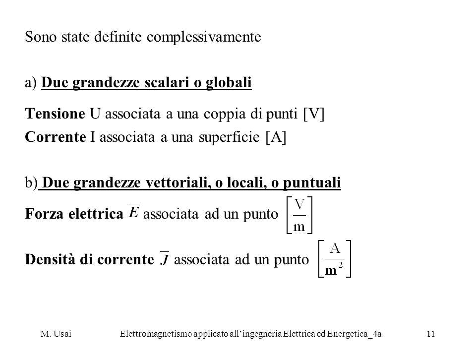 M. UsaiElettromagnetismo applicato allingegneria Elettrica ed Energetica_4a11 Sono state definite complessivamente a) Due grandezze scalari o globali