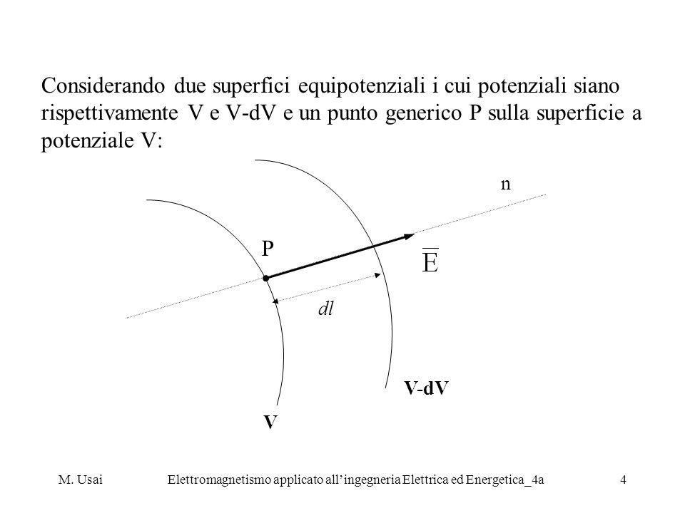 M. UsaiElettromagnetismo applicato allingegneria Elettrica ed Energetica_4a4 Considerando due superfici equipotenziali i cui potenziali siano rispetti