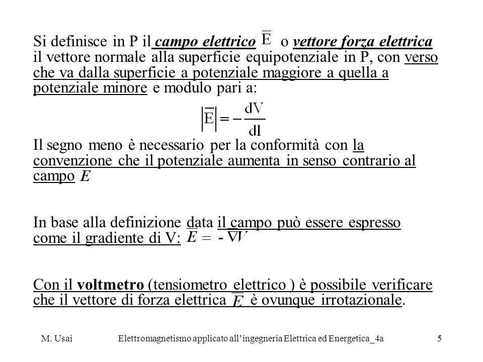 M. UsaiElettromagnetismo applicato allingegneria Elettrica ed Energetica_4a5 Si definisce in P il campo elettrico o vettore forza elettrica il vettore